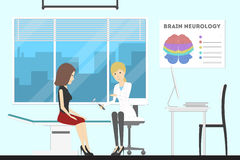 Brain doctor cabinet. Neurology department with patient Royalty Free Stock Images