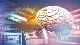 Brain and dollar on business background. 3d illustration Royalty Free Stock Photography