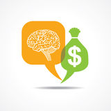 Brain and dollar symbol in message bubble Royalty Free Stock Photos