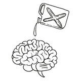 Brain doodle hand drawn Royalty Free Stock Images