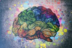 Brain doodle illustration with textures stock illustration