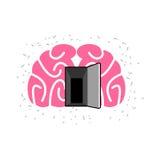 Brain with door open. Open mind. Vector illustration stock illustration