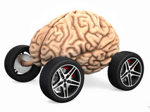 Brain drain. Very high resolution 3d rendering of an human brain with wheels Stock Photography