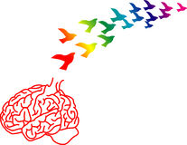 Brain drain. Vector illustration for a broken brain cage and ideas just like birds flying away, brain drain, metaphors Stock Images