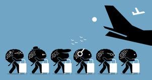 Brain drain cartoon. Royalty Free Stock Image