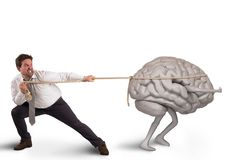 Brain drain. Man pulls the rope with brain drain royalty free stock image