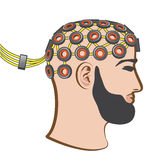 Brain EEG electrodes Bearded Man vector Illustration Stock Photography