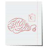 Brain with electrical plug. A hand-drawn pen for design in business Stock Photos