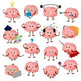 Brain emotion vector cartoon brainy character expression emoticon and intelligence emoji studying illustration. Brainstorming set of businessman or superman royalty free illustration