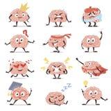 Brain emotions cartoon set, education and knowledge symbol. Vector flat style cartoon illustration isolated on white background stock illustration