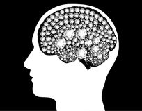Brain enlightened mind power bright idea thinking. Think different concept, think bright. Man head silhouette with brain from white diamonds sparkling Royalty Free Stock Image
