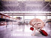 Brain escape. With luggage at the airport stock photo