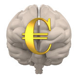 Brain with euro symbol 3d rendering Royalty Free Stock Images