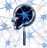 Brain Exam. Medical symbol represented by a magnifying glass shaped as a human head as a close up of 3d neuron function and organ cell activity showing Royalty Free Stock Photos