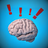 Brain with exclamation mark. Concept Royalty Free Stock Images