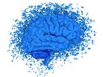 Brain exploding. Human brain exploding over white background, 3d render Stock Image