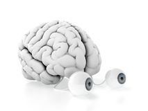 Brain with eyes. 3d render of brain with eyes on white background Royalty Free Stock Photo