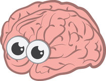 Brain With Eyes. Isolated cartoon brain with eyes Royalty Free Stock Photo