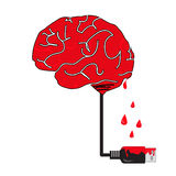 Brain fall. Brain of red color, that is blood drop on charging cable brand Stock Photos