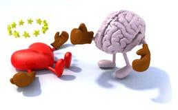Brain fighting heart Stock Photos
