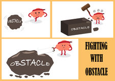 Brain fighting with obstacle Stock Image