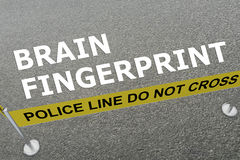 Brain Fingerprint concept. 3D illustration of BRAIN FINGERPRINT title on the ground in a police arena Royalty Free Stock Photography