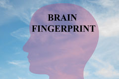 Brain Fingerprint concept. Render illustration of BRAIN FINGERPRINT title on head silhouette, with cloudy sky as a background Stock Photography