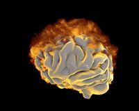 Brain in fire, conceptual image for psychological burnout. 3D illustration Royalty Free Stock Photo