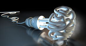 Brain Flourescent Light Bulb Foto de archivo libre de regalías