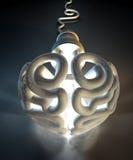 Brain Flourescent Light Bulb Foto de Stock Royalty Free