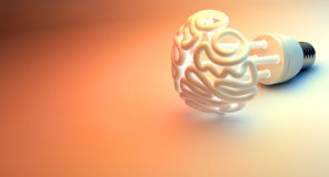 Brain Flourescent Light Bulb Royalty Free Stock Image