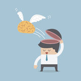 The brain is flying out of the businessman's head, Idea and Free Royalty Free Stock Photos