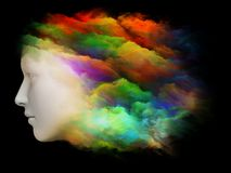 Brain Fog. Colorful Mind series. Composition of human head and fractal colors on the subject of mind, dreams, thinking, consciousness and imagination Stock Photography