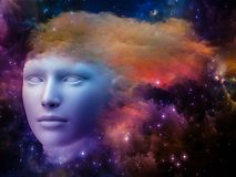 Brain Fog. Colorful Mind series. Composition of human head and fractal colors on the subject of mind, dreams, thinking, consciousness and imagination Royalty Free Stock Photos