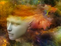 Brain Fog. Colorful Mind series. Composition of human head and fractal colors on the subject of mind, dreams, thinking, consciousness and imagination Stock Photo