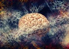 Brain Fog. Brain surrounded in fog Illustration Royalty Free Stock Photography