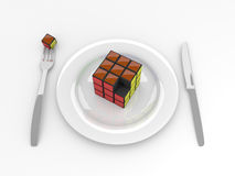 Brain food. Illustration of cube on a plate, a metaphor for healthy food for brain Royalty Free Stock Images