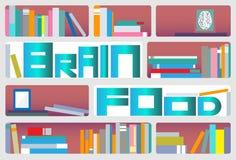 Brain Food Bookcase Stock Afbeeldingen