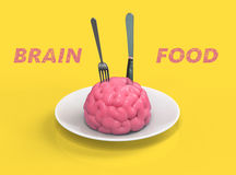 Brain food 3D illustration. Human brain on plate with fork and knife 3D illustration Royalty Free Stock Photography