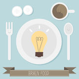 Brain food idea. On blue background vector Royalty Free Stock Photos