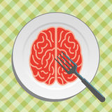 Brain food on plate with fork and knife -  Royalty Free Stock Photography