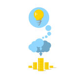 The brain in the form of a cloud embodies the idea into money Royalty Free Stock Photos