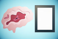 Brain and frame. Abstract brain and empty picture frame on blue background. Brainstorming concept. Mock up, 3D Rendering Royalty Free Stock Photography