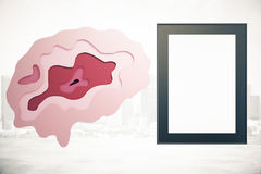 Brain and frame on city background. Abstract brain and empty picture frame on city background. Brainstorming concept. Mock up, 3D Rendering Stock Photography