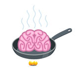 Brain in frying pan. Delicacy for Asia. Fry Pink brains on cast-. Iron frying pan Stock Images