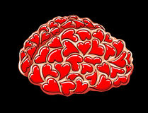 Brain full of love. Valentines day clip art vector illustration