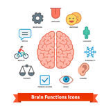 Brain function icons set. Flat colorful vector Royalty Free Stock Photography