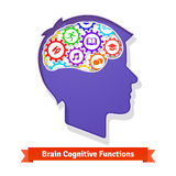 Brain functions concept. Human head full of cogs Royalty Free Stock Image
