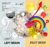 Brain functions. Left and Right brain functions vector illustration