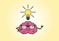 Brain funny cartoon Stock Images